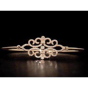 Diamond Bangle Yellow Gold 5 Carats Women Jewelry